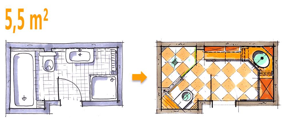 Badplanung Beispiel 5,5 Qm Großzügiges Komfort Duschbad Mit Sehr Viel  Stauraum