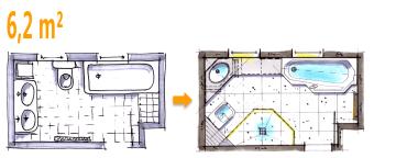 Badplanung Beispiel 6,2 qm Außergewöhnliche Komplettbad-Idee