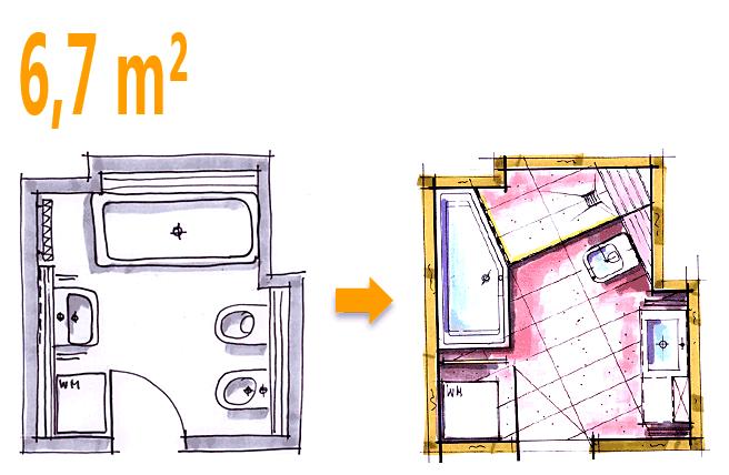 Kleines Bad Mit Dusche Und Waschmaschine : Beispiel 6,7 qm Zus?tzlich eine Dusche durch bessere Raumnutzung