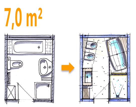 Außergewöhnlich Badplanung Beispiel 7 Qm Freistehend Badewanne Mit WC Bidet Kombination